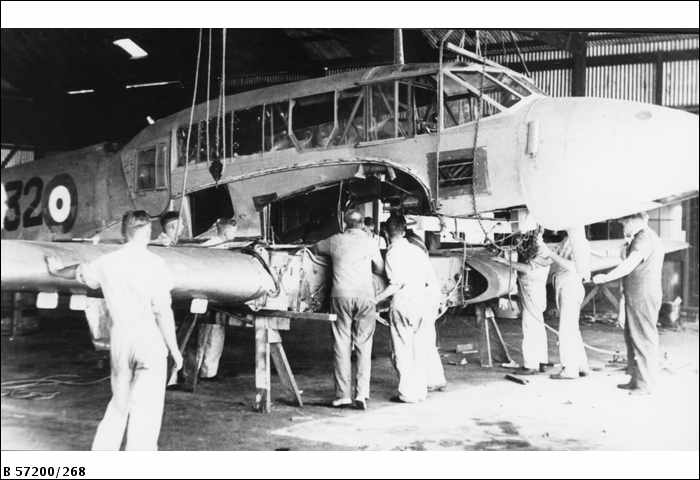 Avro Anson A4-32 undergoing a major service at Guinea Airways in 1945