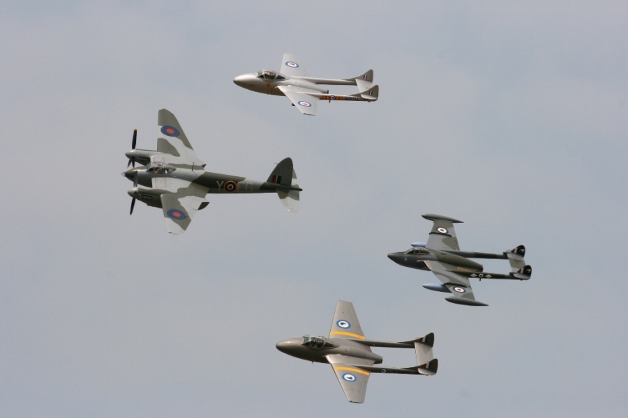 de Havilland formation - Mosquito, Vampires and Venom Wings Over Wairarapa 2013 NZ