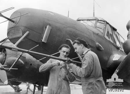Adjusting the radar apparatus No.67 Squadron Avro Anson at RAAF Laverton in 1945