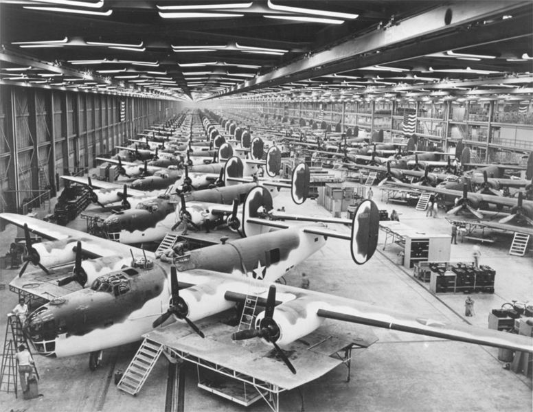 Consolidated B-24 Liberators being built at the Vultee plant in Forth Worth, Texas during WW2