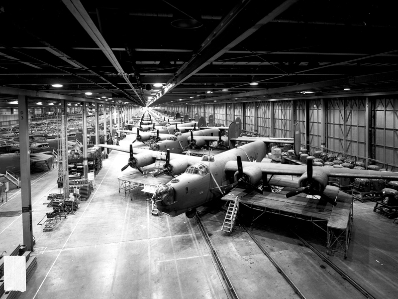 Consolidated B-24 liberators being built at Fords Willow Run, Michigan Factory during WW2