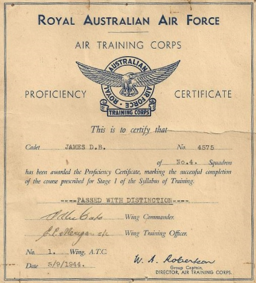 RAAF Air Training Corps Proficiency Certificate