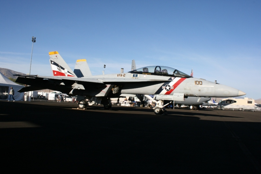 A special commemorative paint job on this VFA-2 Bounty Hunters US Navy F/A-18F Super Hornet Reno Air Races 2012