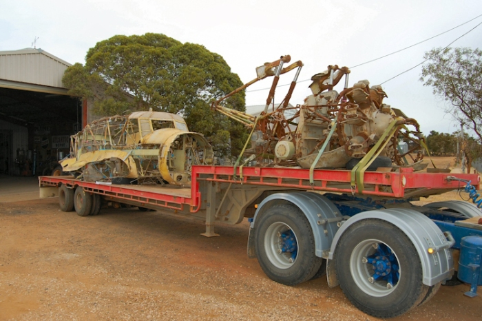 Avro Anson wreck being loaded for delivery to Nhill in 2009