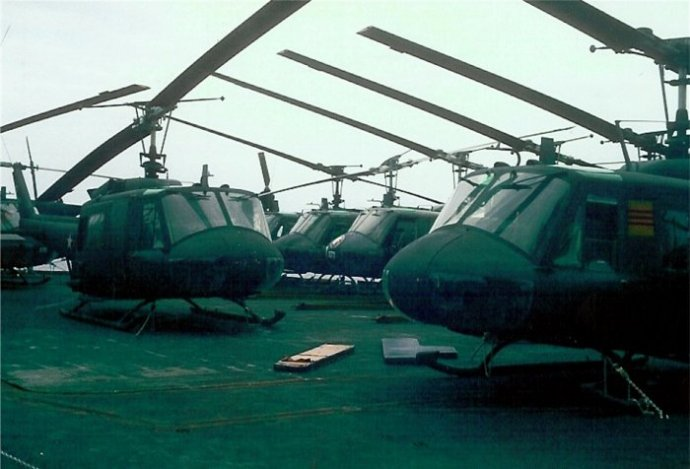 South Vietnamese UH-1 helicopters aboard USS Midway in 1975