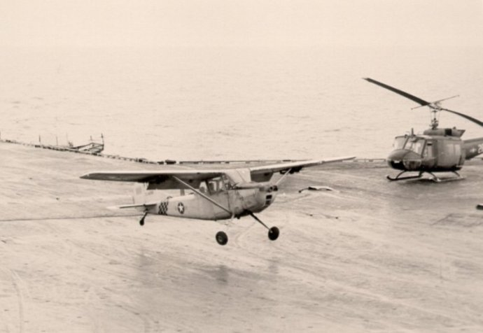 Major Buang lands his O-1 on the Midway Operation Frequent Wind 1975