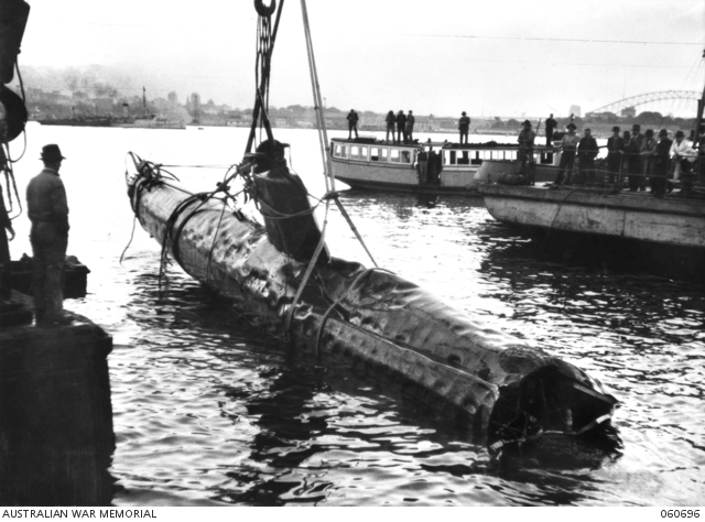 One of the Japanese subs being recovered from Sydney Harbour in 1942 sydney harbour attack