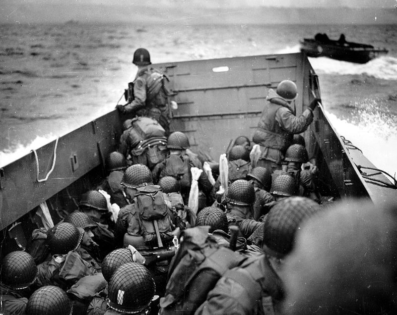US landing craft approaches Omaha Beach on D-Day: June 6th, 1944