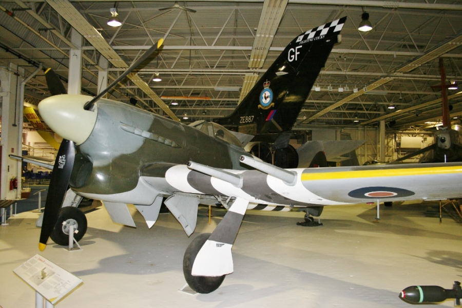 RAF Hawker Typhoon with D-Day stripes markings (RAF Museum - Hendon 2012)