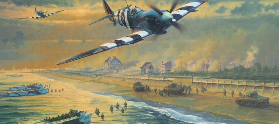 RAF Supermarine Spitfires over Juno Beach on D-Day: June 6th, 1944 (Artist: Anthony Saunders)