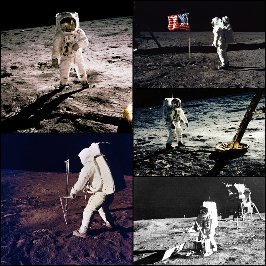 NASA Apollo XI Buzz Aldrin busy exploring and collecting samples from the lunar surface