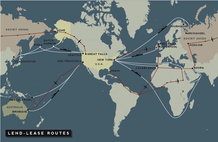 WW2 lend lease routes