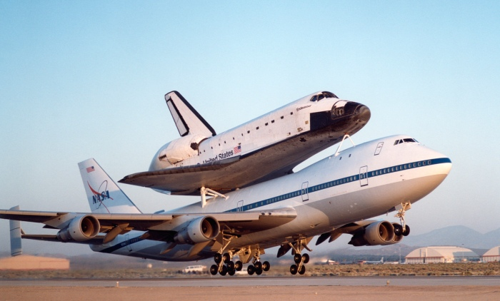 NASA's modified Boeing 747 Shuttle Carrier Aircraft with the Space Shuttle Endeavour