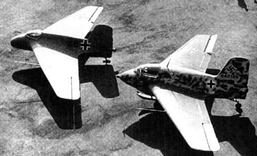 Messerschmitt Me-163A Komet prototype with a Me-163B production model