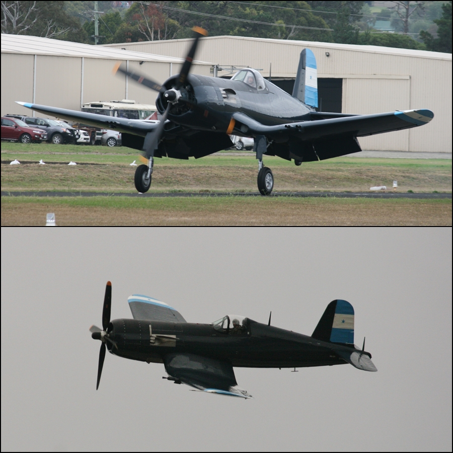 Tyabb Air Show 2016 The mighty gull winged Vought F4U-5N Corsair fighter in the markings of the Honduran Air Force who were still using the type in combat in the 1969 Football War (100 Hour War) against El Salvador!
