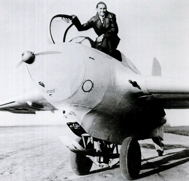 Test pilot Heini Dittmar in the cockpit of an Me-163B