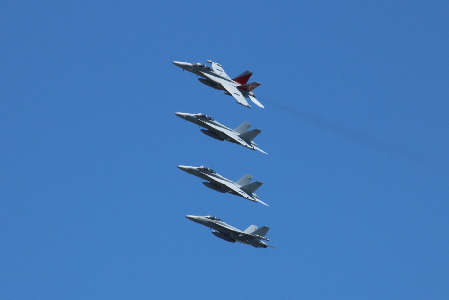 lead break Four ship formation of US Navy Boeing E/A-18G Growler electronic attack fighters from Electronic Attack Squadron 129 (VAQ-129) Vikings at the NAS Whidbey Island Open House 2016