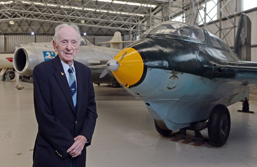 Scotsman Captain Eric 'Winkle' Brown beside the Me-163B Komet he flew in June 1945 (September 2015 photo source: Scottish National Museum of Flight)