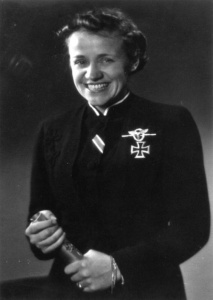 Hanna Reitsch with her Iron Cross, First Class - the first German woman to receive this military award