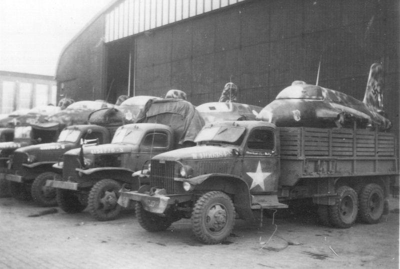 Former JG 400 Me-163B Komet's loaded up on US Army trucks to be transported for shipment to Great Britain in 1945