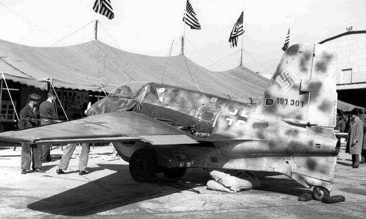 Messerschmitt Me-163B (W/N 191301) on display at Wright Field on October 14th, 1945