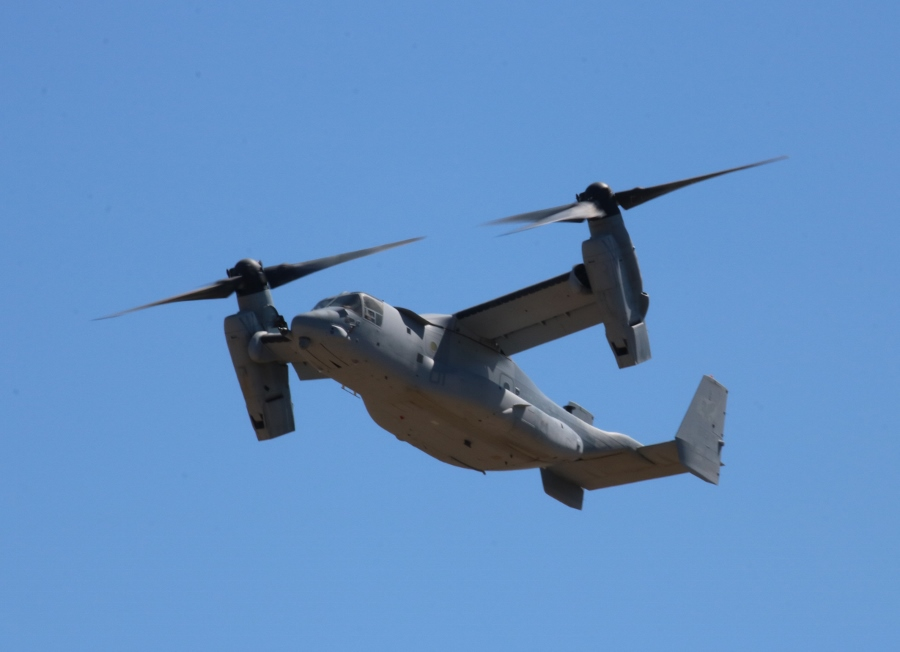 "Bell Boeing MV-22 Osprey tilt-rotor transport of the USMC VMM-161 ""Greyhawks"" prepares for take-off at Oregon International Air Show 2016"