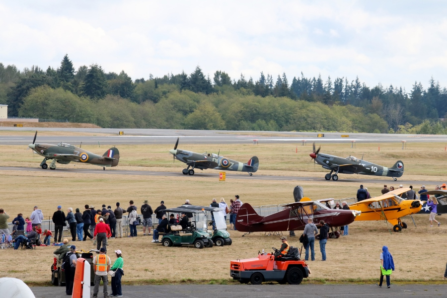 Hawker Hurricane and Supermarine Spitfires Vintage Aircraft Weekend 2016