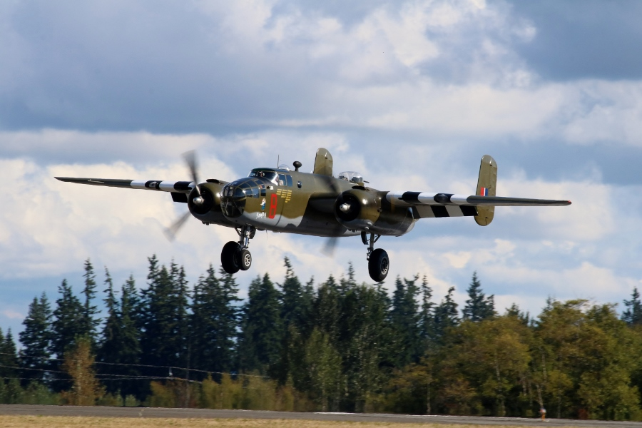 "North American B-25D Mitchell ""Grumpy"" coming in for a landing"