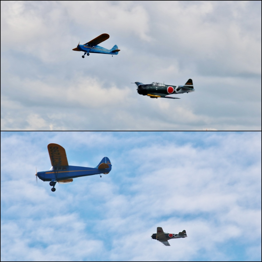 """The Pearl"" getting harassed by that pesky Tora A6M2 Zero! Vintage Aircraft Weekend 2016"