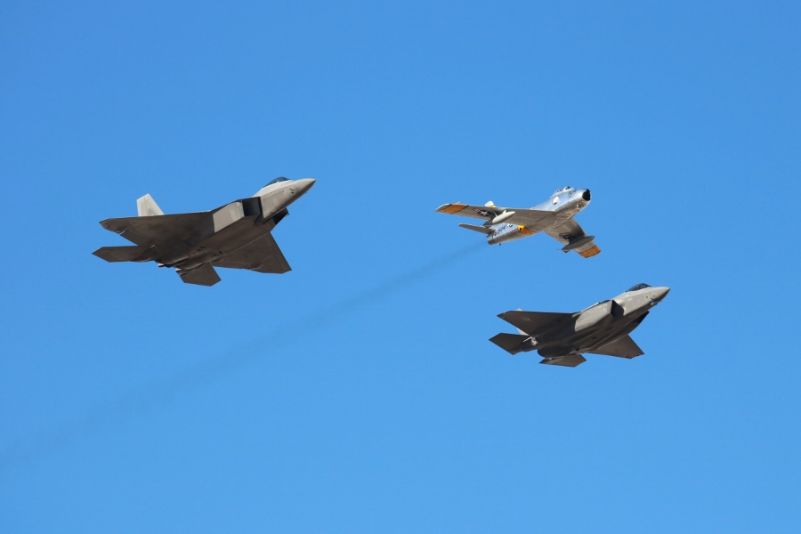 USAF Heritage Flight Aviation Nation 2016 Nellis AFB F-86 F-35 F-22