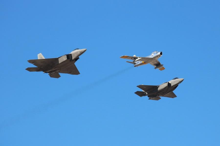USAF Heritage Flight Aviation Nation 2016 Nellis AFB F-86 F-35 F-22