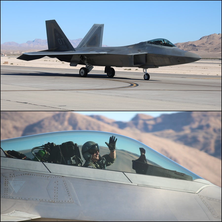 USAF F-22 Pilot Wave Aviation Nation 2016