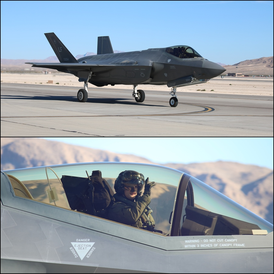 USAF F-35A Pilot Wave Aviation Nation 2016