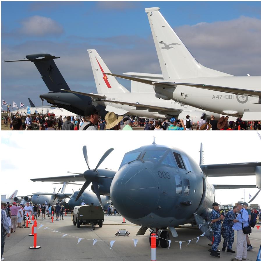 RAAF C-17, E-7A and P-8A tails RAAF C-27J Spartan Avalon 2017