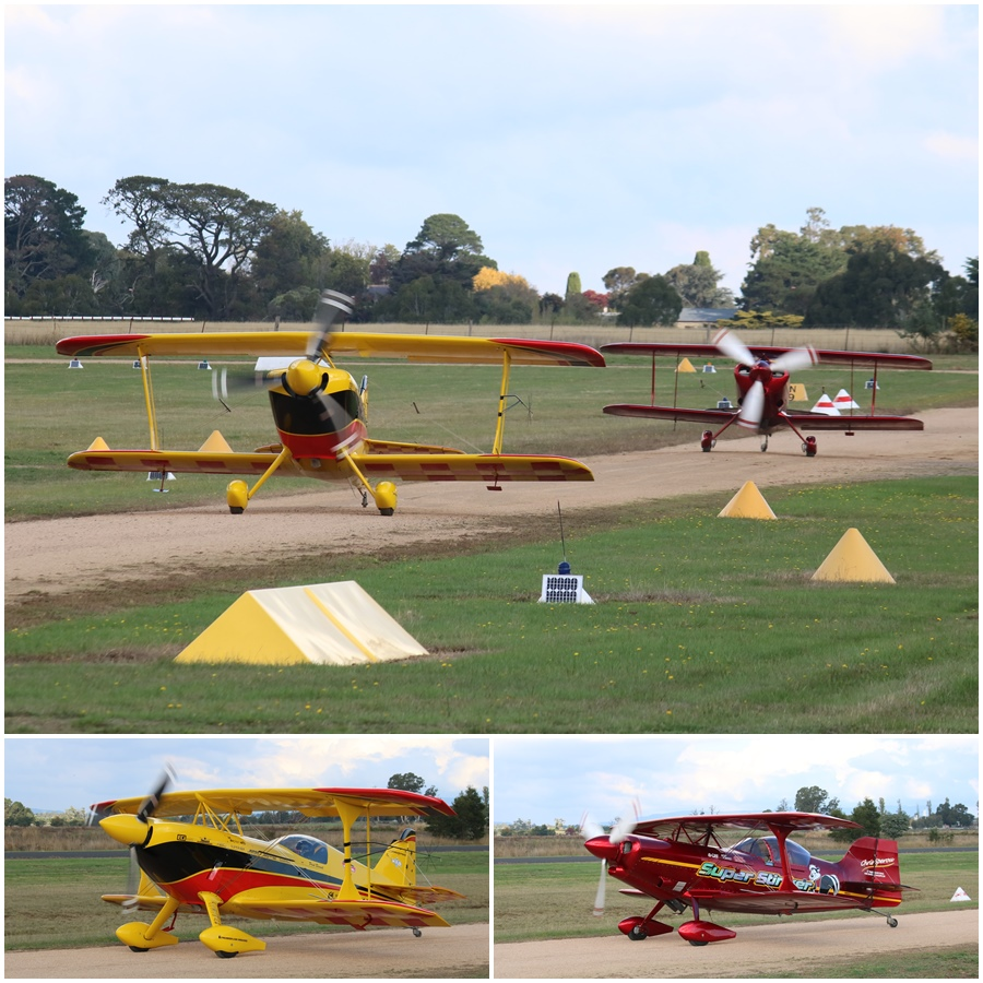 """Paul Bennet Airshows Wolf Pitts Pro and Chris Sperou in his Pitts S1-11B """"Super Stinker"""" prepare for some tandem aerobatic displays Kyneton Air Show 2017"""