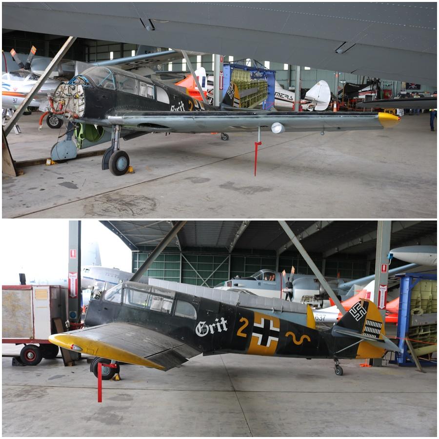 Messerschmitt Bf 108 under rebuild at HARS