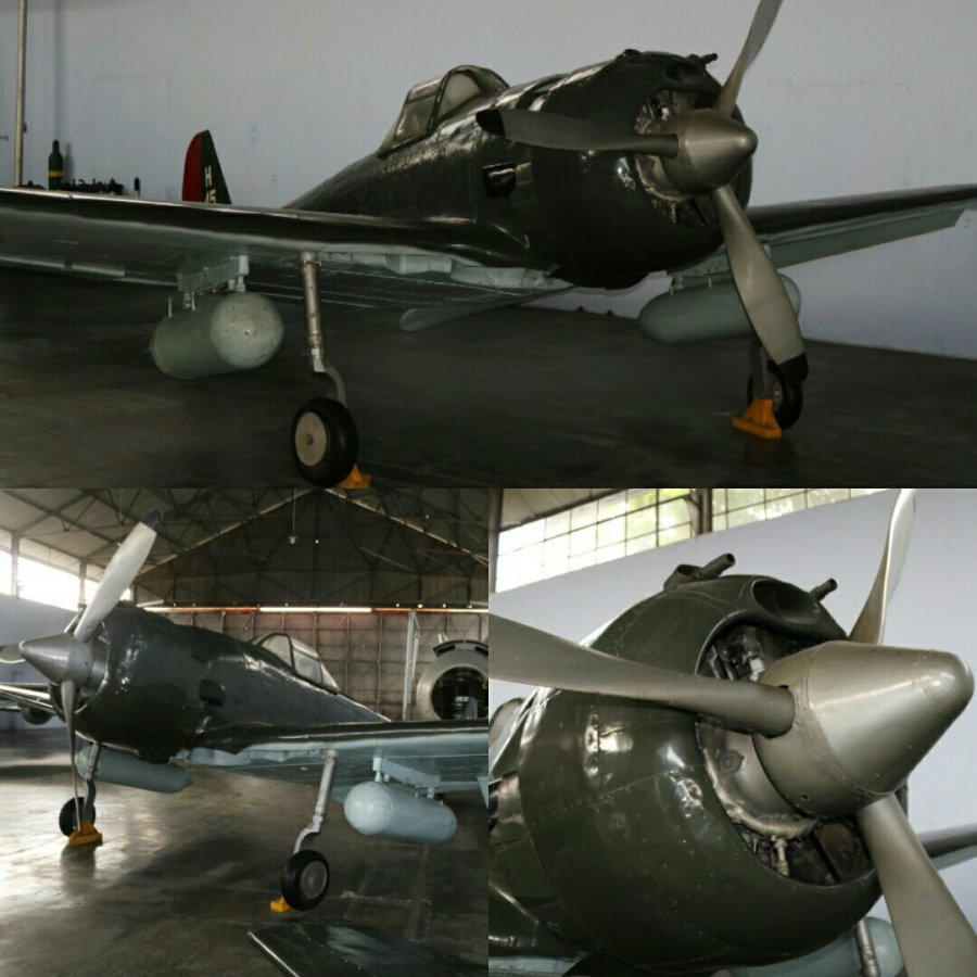The Nakajima Ki-43-II had just 2 X 12.7mm machine guns mounts in the nose - Indonesian Air Force Museum, Yogyakarta (May 2018)