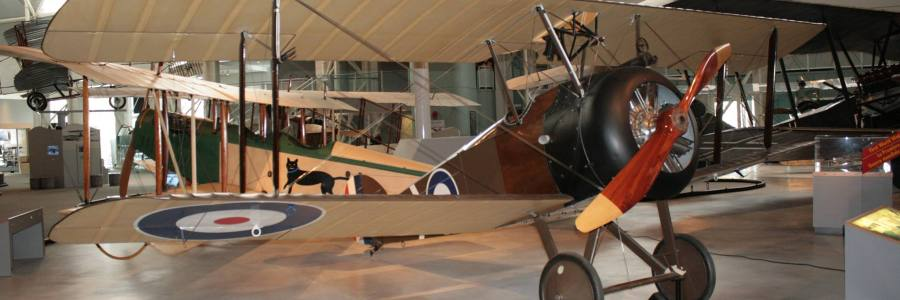 A beautifully preserved Sopwith 2F.1 Ship Camel from 1918 at the Canada Aviation and Space Museum in the capital of Ottawa, Ontario in 2013
