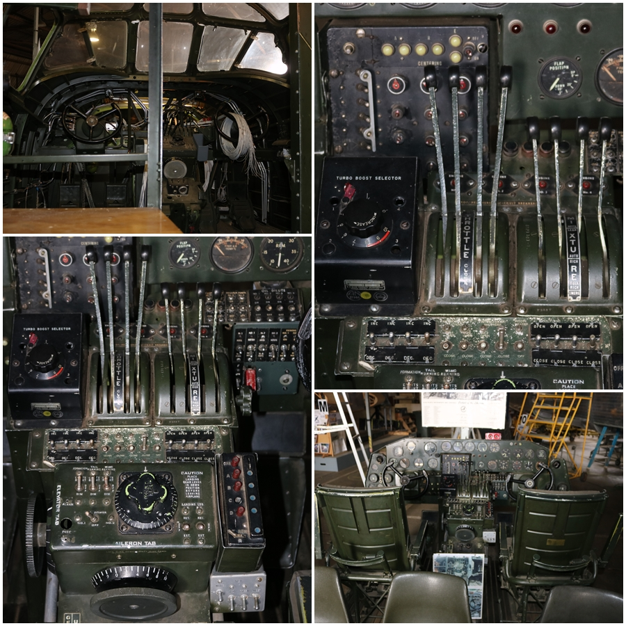 Consolidated B-24 cockpit instrument panel and flight controls - B-24 Liberator Memorial Restoration in Werribee, Victoria, November 2018