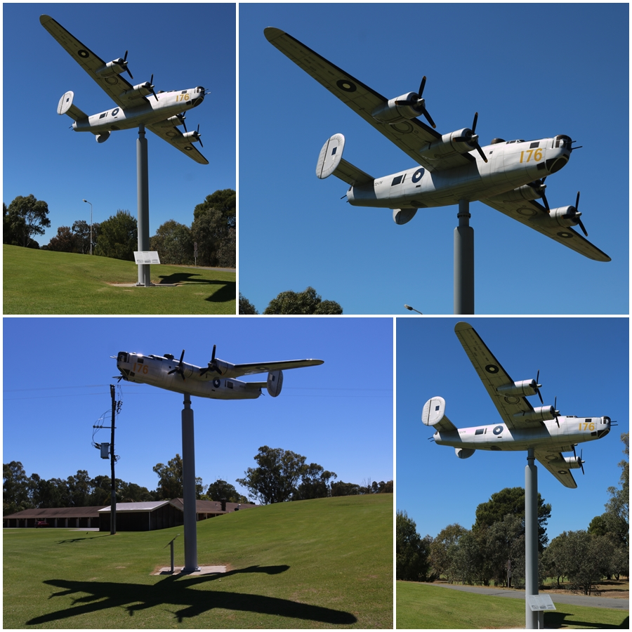 1/4 scale replica memorial of B-24M A72-176 and 7OTU at the front entrance to the Tocumwal Golf Course - October 2018