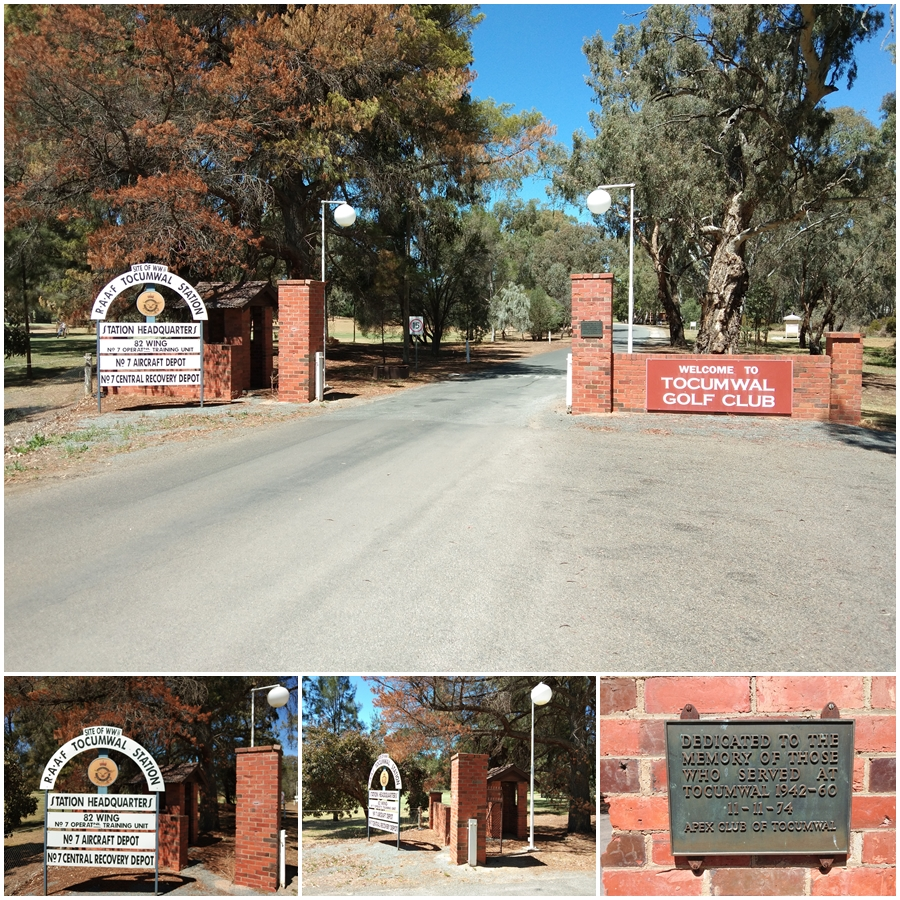 The old RAAF Tocumwal base gates and guardhouse at an entrance to the Tocumwal Golf Course - October 2018