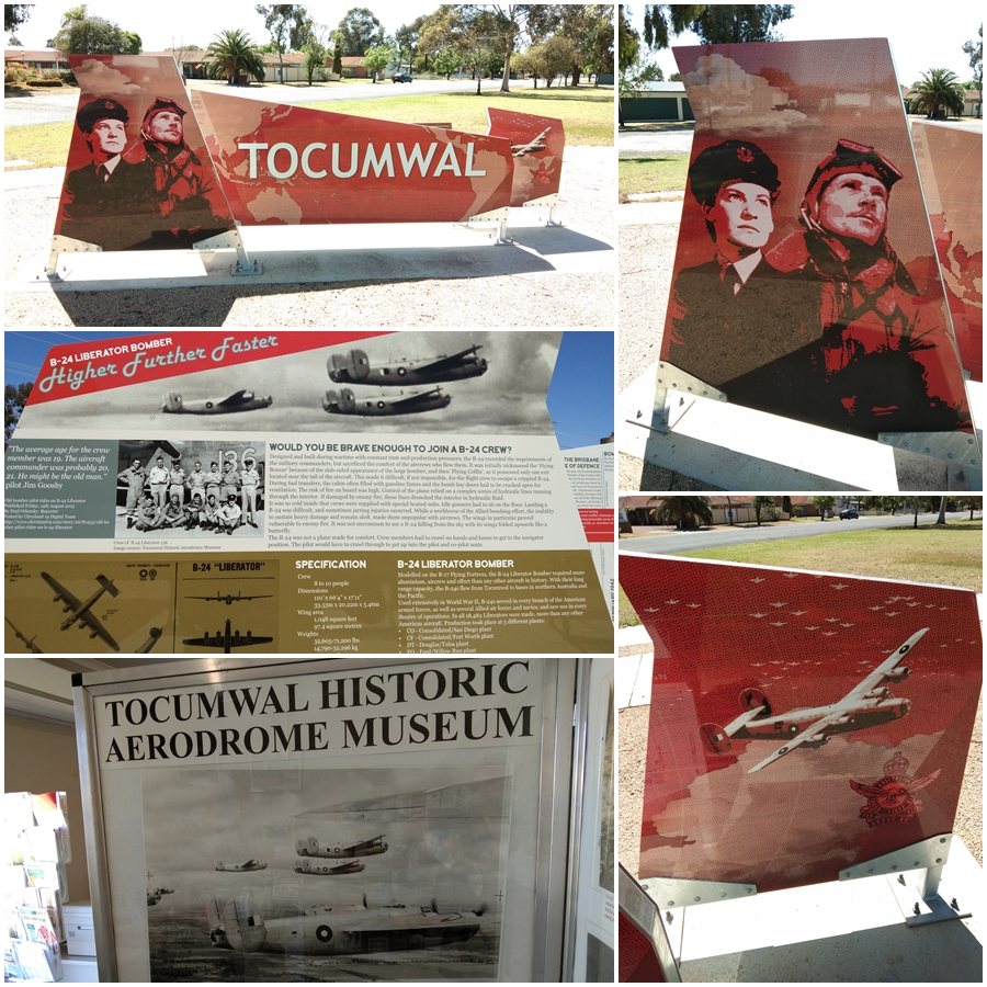 RAAF Tocumwal info at the entrance to the town and at the tourist information centre - October 2018