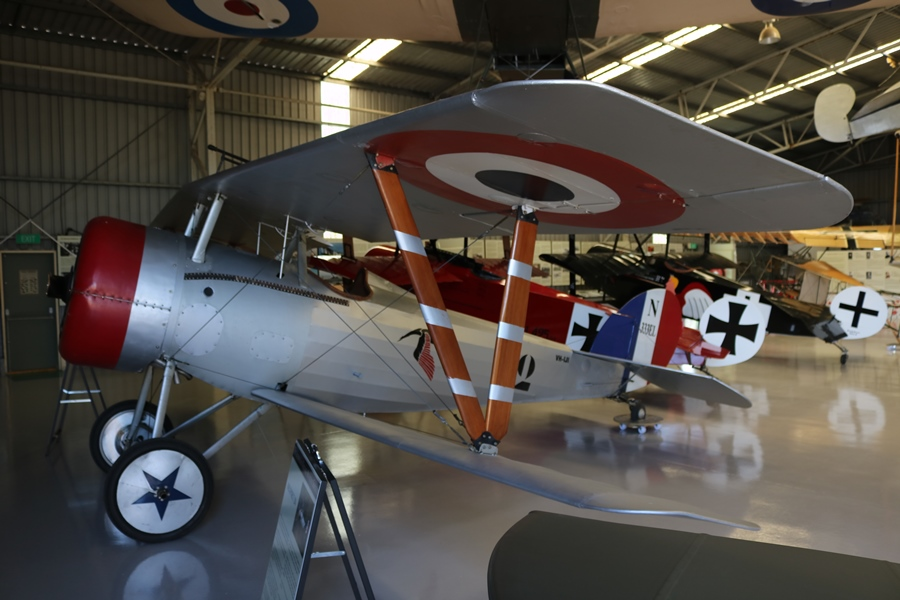 Replica 1917 Nieuport 24 in the colours and markings of French ace and hero, Captain George Guynemer whilst with Escadrille N.3 Les Cigognes - The Stork Squadron. The highly decorated Guynemer scored 53 victories - TAVAS, Caboolture Aerodrome, Queensland (November 2018)
